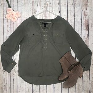 INC Army Green Lace Up High Low Cut Top